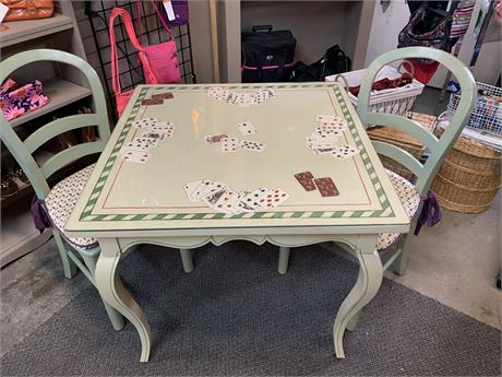 One Of a Kind Handcrafted Painted Card Table/Conversation Piece