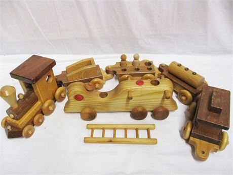 LOT OF HANDCRAFTED WOODEN TOYS