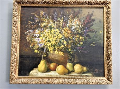 Original Signed Ab Oil Painting In Ornate Frame