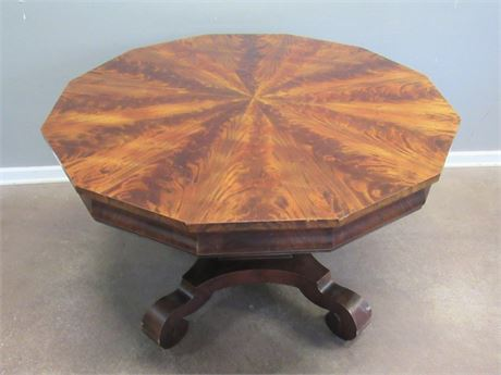 Antique Dodecagon Pedestal Dining Table on Casters