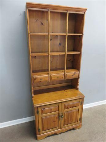 Knotty Pine Bookcase Hutch