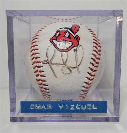 Omar Vizquel Signed Commemorative Cleveland Indians Baseball