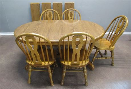 Cochrane Oak Trestle Dining Table with 6 Chairs and 4 Leaves
