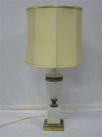 VINTAGE MARBLE AND PRESSED GLASS LAMP