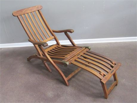 Vintage Steamship First Class Deck Lounge Chair - S. S. New Amsterdam