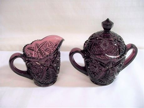 BEAUTIFUL EAPG AMETHYST COLORED CREAM AND SUGAR BOWL