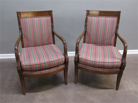 2 Occasional Striped Side Chairs with Wood Arms