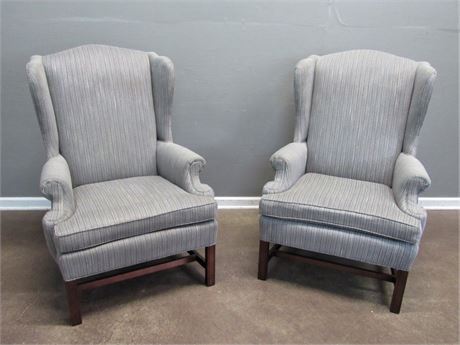 2 Conover High-back, Wing-back Striped Fireside Chairs