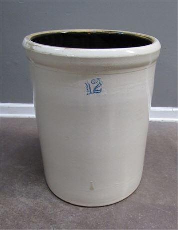 Anchor Pottery 12 Gallon Crock with Cobalt Blue Anchor