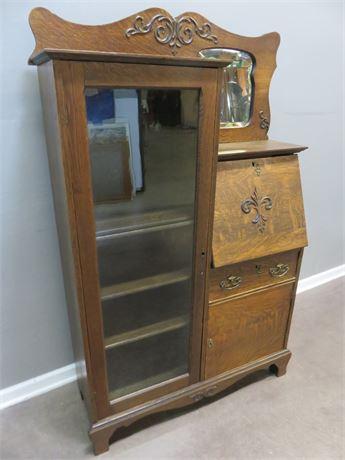 Antique Oak Secretary Desk/Curio Cabinet