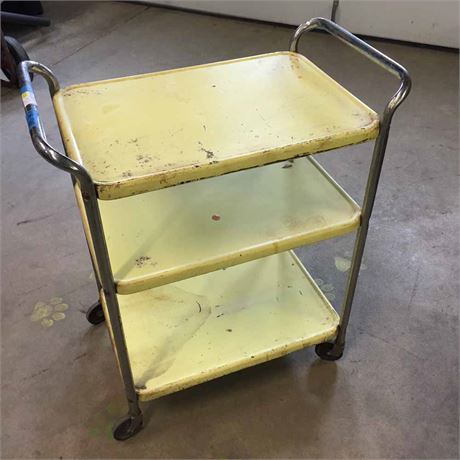 YELLOW METAL KITCHEN CART