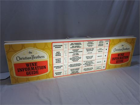 Vintage Christian Brothers Wine Information Guide Lighted Sign