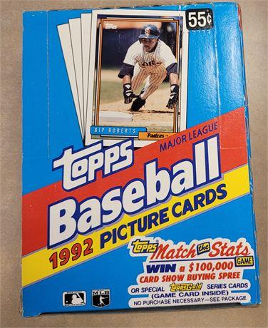 1992 Topps Baseball Wax Box with Factory Sealed Wax Packs