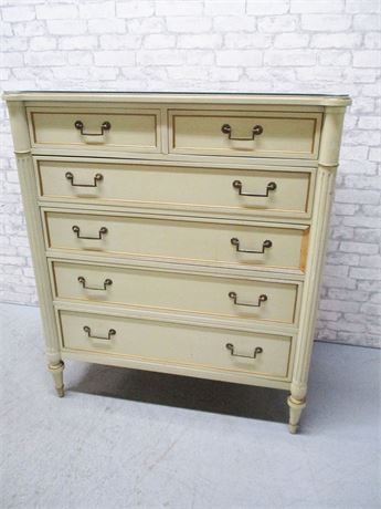 DREXEL ANTOINETTE WHITE 6-DRAWER DRESSER WITH GLASS TOP