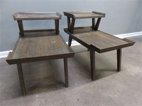 Mid-Century 2-Tier Step End Tables