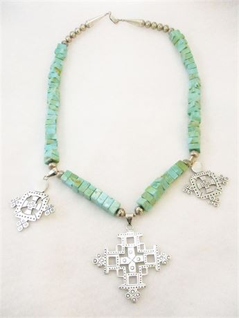 MEXICAN STERLING SILVER AND TURQUOISE NECKLACE