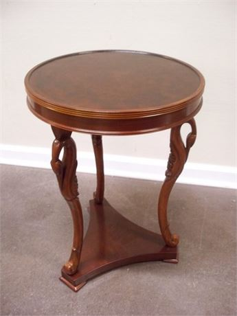 BOMBAY SMALL ROUND TOP SWAN NECK SIDE TABLE