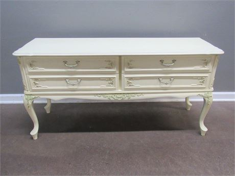 French Provincial 4 Drawer Lowboy Chest of Drawers