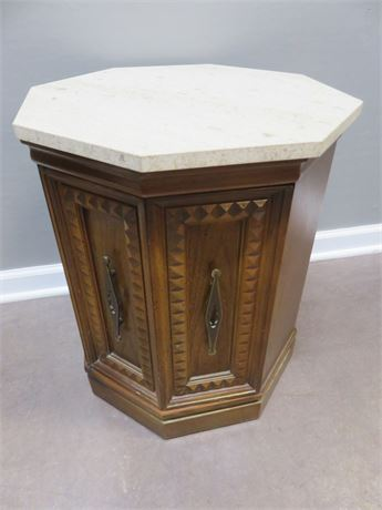 Octagonal Marble Top End Table