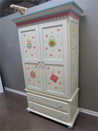 HAND CRAFTED/PAINTED 2 PIECE BEDROOM ARMOIRE/HUTCH