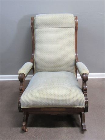 Antique Platform Rocking Chair with Front Casters