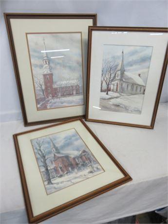 SANDRA GIANGIULIO Historic Church Watercolor Prints