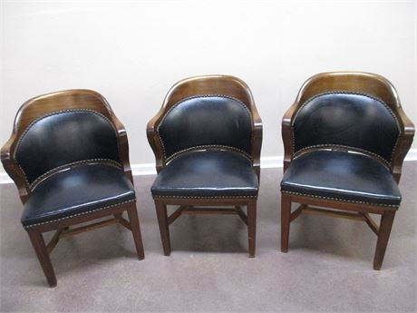 LOT OF 3 VINTAGE B.L. MARBLE LEATHER/WOOD SIDE CHAIRS