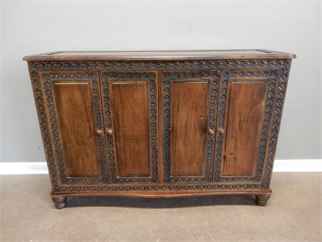 Vintage Wood Console Cabinet