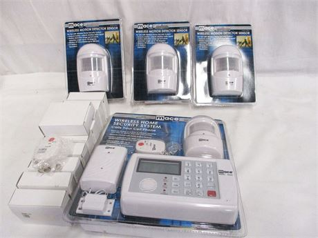 LOT OF MACE BRAND WIRELESS SECURITY SYSTEM AND COMPONENTS