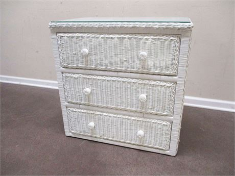 3-DRAWER WICKER CHEST WITH GLASS TOP