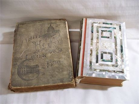 2 VINTAGE/ANTIQUE BOOKS - WHITE HOUSE COOKBOOK & HEBREW MOTHER OF PEARL BIBLE