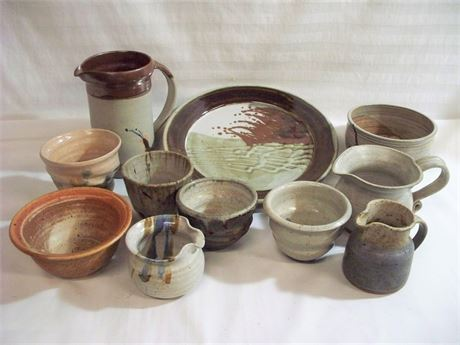 11 PIECE MISC. HAND-MADE POTTERY LOT