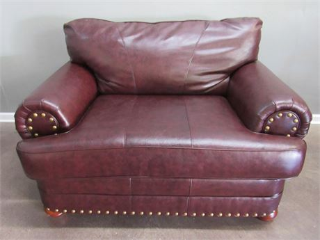 United Furniture Leather Chair and 1/2 Lounge Chair with Nail-head Trim
