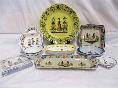 LOT OF FAIENCE POTTERY - QUIMPER AND KAMPARE