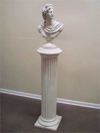 LARGE HEAVY PEDESTAL/COLUMN WITH A BUST OF APOLLO