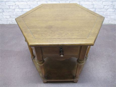 VINTAGE KROEHLER HEXAGONAL SIDE TABLE WITH DRAWER