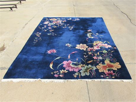 Beautiful Deep Blue Vintage Art Deco Chinese Style Floral Area Rug