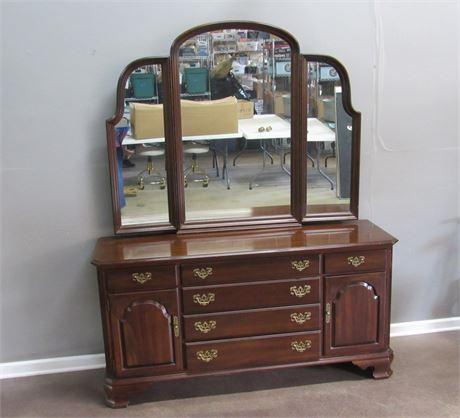 Ethan Allen Dresser with Tri-Fold Mirror