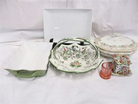 LOT OF LOVELY FLORAL SERVE WARE FEATURING ROYAL COTSWOLDS
