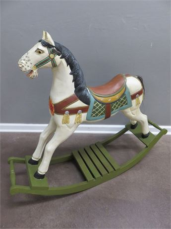 Vintage Hand-Painted Wooden Carousel Rocking Horse