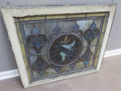Vintage Stained Glass Window Panel