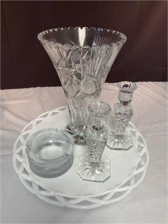 Lot of Vase, Candleholder, Ashtray