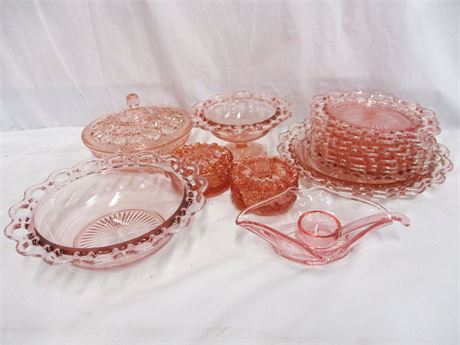 """LOT OF PINK GLASS FEATURING """"OPEN LACE"""""""