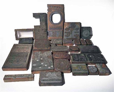 Vintage Letter Press Block Lot