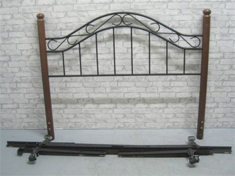 QUEEN SIZE METAL HEADBOARD WITH METAL BED FRAME