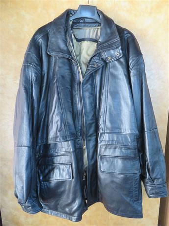 LEATHER LIMITED Men's Black Leather Jacket - Size 2XL