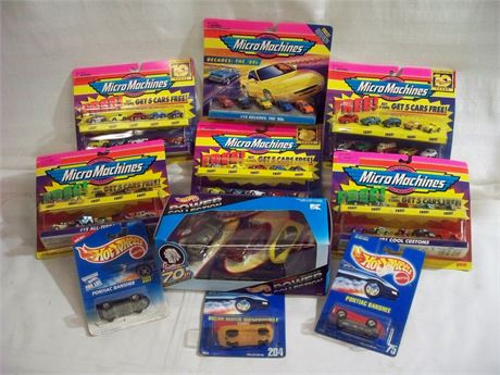 LARGE DIECAST TOY CAR LOT INCLUDING MICRO MACHINES - ALL NIP