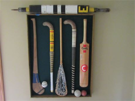 Vintage Framed Sports Themed Wall Art Display