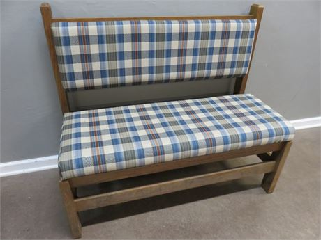 Cushion Seat Plaid Bench
