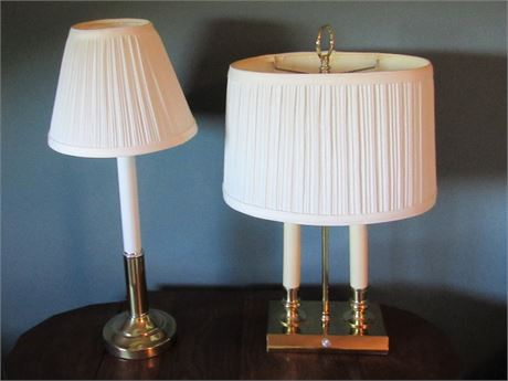 2 Candlestick Style Brass Lamps